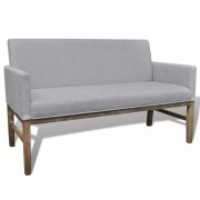 vidaXL Světle šedá lavice z kaučukovníku s čalouněním