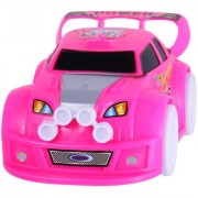 Magideal Led Light Flashing Music Automatic Steering Electric Racing Toy Car Pink