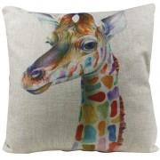 Jirafa de algodón de lino de forma cuadrada decorativo almohada cubierta almohada Pillowslip de 45 * 45cm