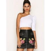 Missguided Square Stud Detail PU Mini Skirt Minikjolar Black