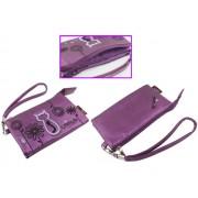 Animob A02-97PU hímzett mobiltelefon tok dupla 75 x 12 x 125mm - lila