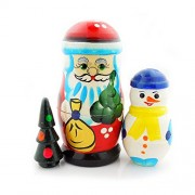 "Santa Claus Father Frost Russian Nesting Doll 4 1/2"" 3 Nested"