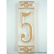 Numero civico ceramica con fiore bianco nfb5