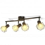 vidaXL Черна лампа с 4 LED крушки нажежаема жичка и геометрична рамка