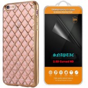 Snaptic Diamond Grid Golden Chrome TPU Cover and 2.5D HD Tempered Glass for Oppo F1s