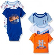 Tommy Hilfiger Baby Boys' Short Sleeved Striped and Solid Bodysuits, Blue/Orange, 0-3 Months (Pack of 5)