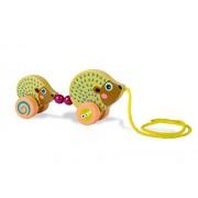 Oops LHB 17.005,24 - Facile giocattoli Pull in legno Famiglia nel colorato, disegno animale sveglio - Riccio