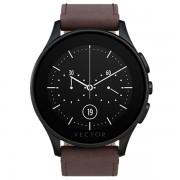 Ceas Vector Luna Smartwatch carcasa neagra din otel inoxidabil curea din piele maro