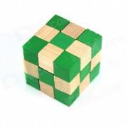Juguetes educativos de madera cuadrado de cubo magico - Color madera + verde