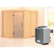 KARIBU Sauna Systemsauna Siirin satiniert inkl. 9 kW Saunaofen integr. Steuerung