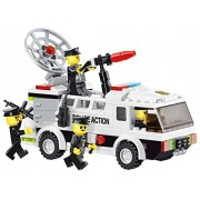 High Speed - 155 pcs Police Riot Control building blocks set truck mounted with water cannon and sonic crowd control device and armed police men - for every 6 police officer in Lego compatible