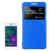 Leather Cover Connect Translucence PC Back Shell Protective Case with Caller ID Window for Samsung Galaxy A5 / A500(Blue)