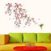 Walltola Humming Bird And Pink Blossoms Wall Decal (20X28 Inch)