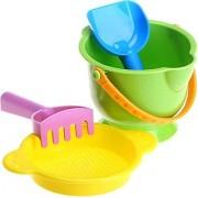 Hape - Beach Basics - Bucket Sifter Rake and Shovel Set