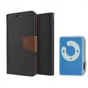 Nokia Lumia 520 Mercury Wallet Flip case Cover (BROWN) With Mini MP3 Player(Assorted Color)