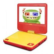 Odys Peer 7+ lecteur DVD portable (17,8 cm (7 pouces) écran, MPEG4, entrée USB 2.0 tournantes) rouge / jaune