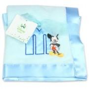 Disney Mickey Mouse Plush Satin Trim Baby Blanket Blue