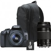 Canon EOS 1300D 18-55MM + 75-300MM KIT incl. 8GB SD kaart en rugzak