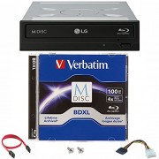 LG 16x WH16NS40 Internal Blu-ray Burner Bundle with 100GB Verbatim M-Disc BDXL and Cable Accessories