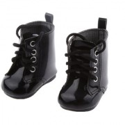Magideal Black Lace Up Pu Martin Boots Shoes For 18Inch American Girls Dolls