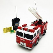 Apontus Remote Control RC Fire Truck Engine w Extending Ladder Lights Siren Sounds
