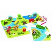 Hape - Early Explorer - On Safari Wooden Play Set with Floor Mat