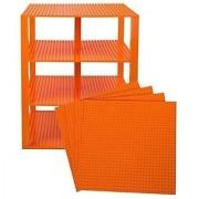 Premium Orange Stackable Base Plates - 4 Pack 10 X 10 Baseplate Bundle With 60 Orange Bonus Building Bricks (Lego Comp