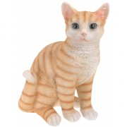 Zittende katten beeldje oranje 29 cm