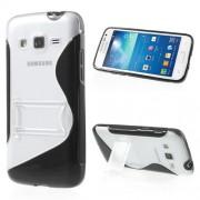 Husa silicon+plastic S-line negru+transparent (MHC) cu stand pentru telefon Samsung Galaxy Express 2 G3815