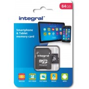 Integral micro SD 64GB + Adapter (90MB/s Class 10)