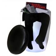 - Tabouret bas design noir et blanc silhouette homme - Toledo