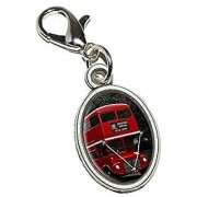 Graphics and More Double Decker Red Bus England Great Britain Antiqued Bracelet Pendant Zipper Pull Oval Charm with Lobster Clasp