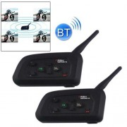 2 PCS V4-1200 1200m Bluetooth Interphone Headsets for Motorcycle Helmet Max Support: Four Riders Supports FM