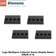 Lego Parts: Tile, Modified 3 x 4 with 4 Studs in Center - Minifigure Display Base (PACK of 4 - Black
