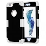 For iPhone 6 Plus & 6s Plus Separable Contrast Color PC + Silicone Combination Case(Black+White)