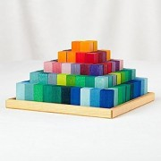 Grimms Small Stepped Pyramid of Wooden Building Blocks 100-Piece Learning Set in Storage Tray (2x2cm Size)