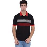 Edberry Men's Black Red Striped Polo Neck T-Shirt