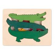 Hape - E6508 - George Luck - Puzzle - Crocodiles - 7 pièces