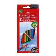 Creioane colorate triunghiulare 12 culori + ascutitoare Eco Faber-Castell