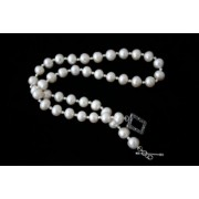 """19"""" White Freshwater Pearl Necklace & 925 Silver Beads"""