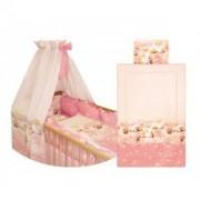Set lenjerie 8 piese roz pentru patut, Bertoni