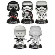 Star Wars The Force Awakens Funko Pop Bobbleheads: Kylo Ren, Captain Phasma, Stormtrooper, Flametrooper & Snowtrooper with Bonus 3.75-Inch Captain Phasma