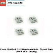 """Lego Parts: Plate, Modified 1 x 2 with Handle on Side - Closed Ends (PACK of 4 - LBGray) by """"Parts - Plates, Modified"""""""