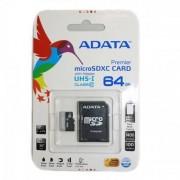 Card ADATA Premier MicroSDXC UHS-I U1 Cls 10 64GB cu adaptor SD
