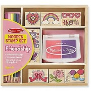 Melissa & Doug Wooden Stamp Set: Friendship - 9 Stamps 5 Colored Pencils and 2-Color Stamp Pad