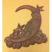 Cast iron moon and stars wall hanger