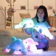 45cm Luminous Plush Dolphin Dolls Kawaii Luminous Pillow Stuffed Toys Colorful Dolphin Plush Light Toys Children Night Light Toy