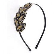 Uxcell Lady Plastic Beads Detail Leaf Shape Decoration Hair Hoop Beige Black 0.06 Pound