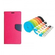 WALLET FLIP CASE COVER FANCY DIARY FLIP CASE COVER For Nokia Lumia 520 PINK WITH USB SIMILY DATA CABLE