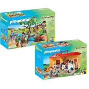 Maven Gifts Playmobil Country Playset Bundle with Take Along Horse Stable Playset and Country Horseback Ride Playset